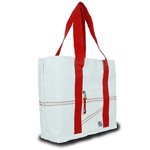 Sailor Bags Sailcloth Tote Bag (White/Red Straps, Medium)