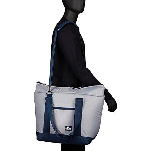 SailorBags Silver Spinnaker Insulated Cooler Tote (Silver with Blue Trim)