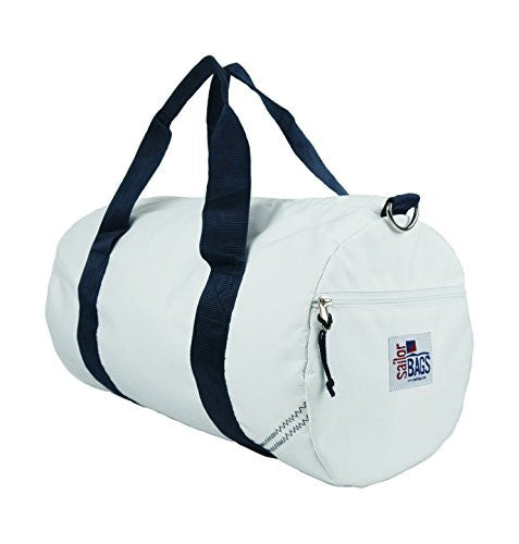 Sailor Bags Round Duffel with Blue Straps, Medium, White/Blue