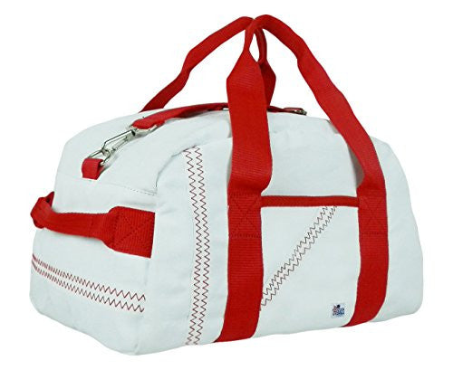 Sailor Bags Mini Duffle with Red Straps, One Size, White/Red