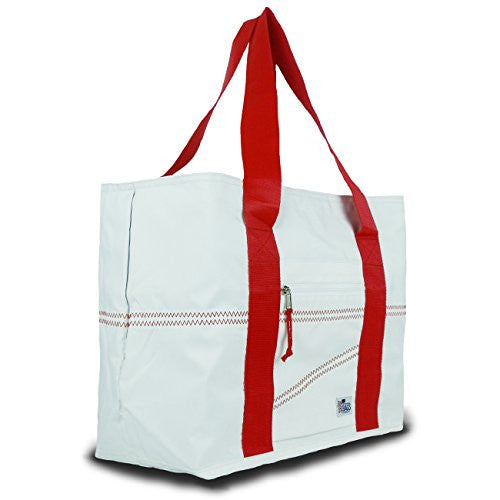 Sailor Bags Sailcloth Tote Bag (White/Red Straps, Large)