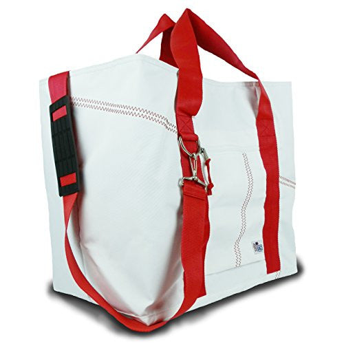 Sailor Bags Tote Bag with Red Straps, X-Large, White/Red