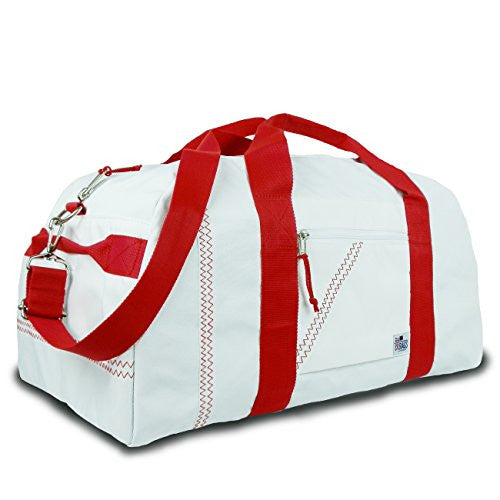 Sailor Bags Square Duffel (White/Red Straps, Large)