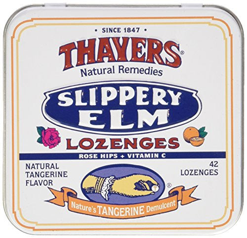 Thayers Natural Remedies Slippery Elm Tangerine 42 Lozenges