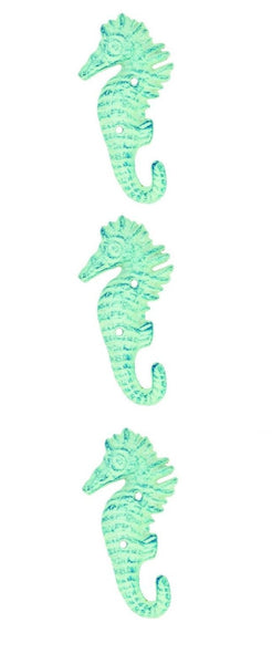 Light Blue Seahorse Wall Hangers Cast Iron Antique  (Set of 3)
