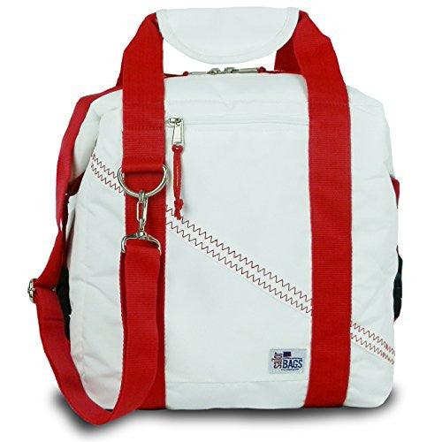 Sailor Bags Soft Cooler Bag, (Holds 12 Cans) (White/Red Straps)