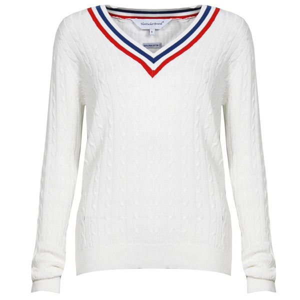 Women's Cable Tennis Sweater - V-Neck