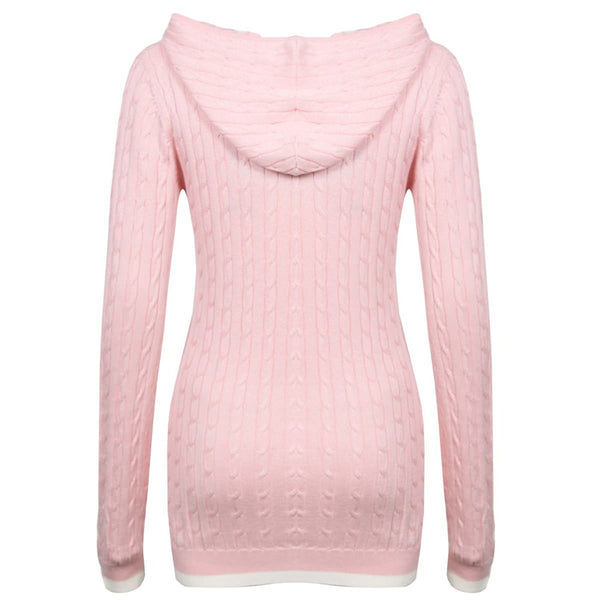 Women's Cable Knit Sweater Hoodie with Tipping