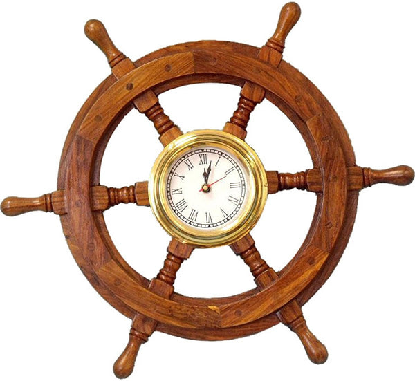 "Wood And Brass Ship Wheel Clock (18"")"