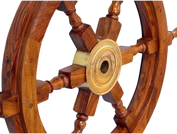 "Wood Brass Ship Wheel (24"")"