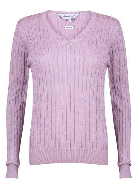 Cotton Cable Knit V-Neck Sweater by Nantucket Brand Clothing Co. | Sweater