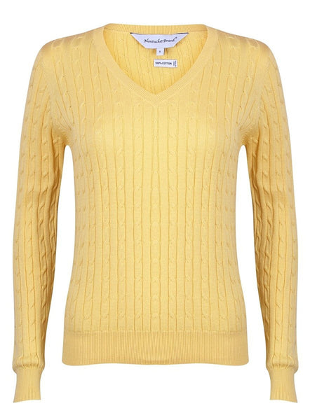 Women's Cotton Cable Knit V-Neck Sweater