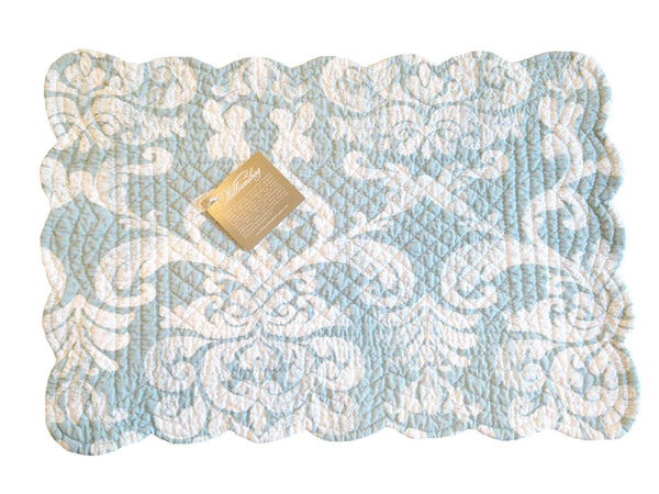 "Providence Blue Quilted Rectangle Placemat (13""x19"")"