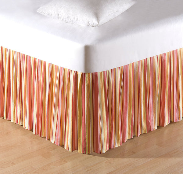 "Multi Coral Stripes Queen Dust Ruffle (14"")"