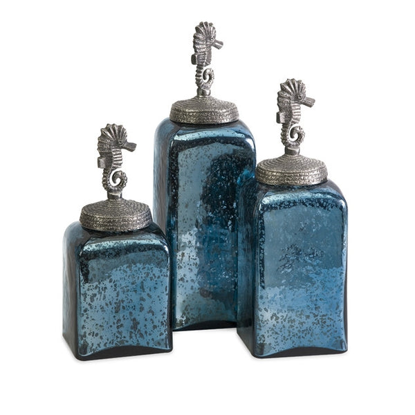 Hammered Glass Seahorse Canisters - Set of 3 by Imax | Bottles