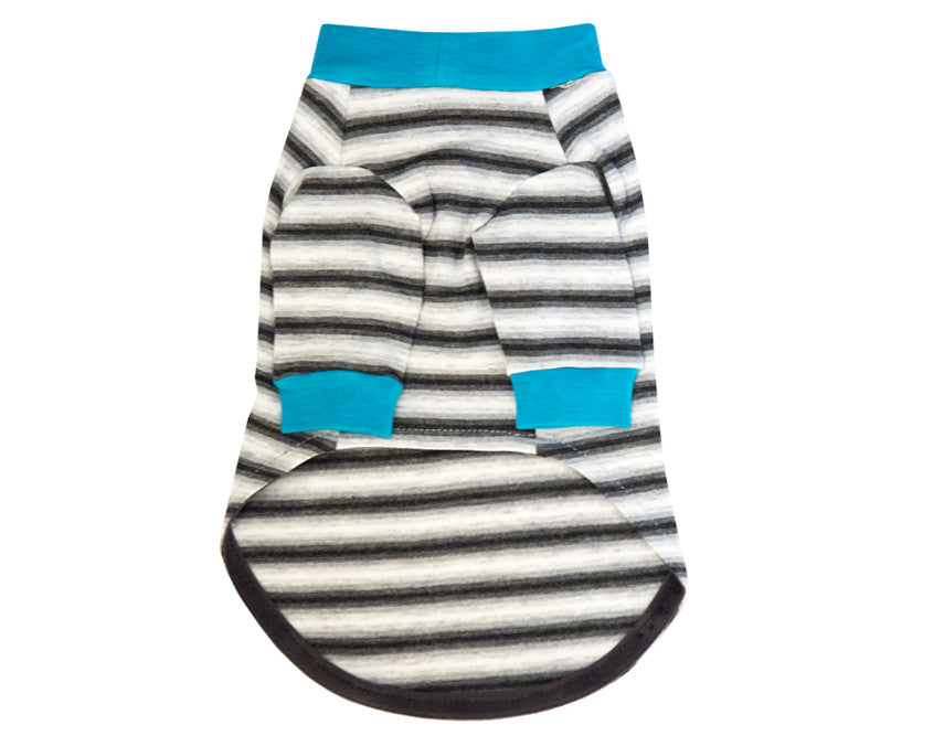 The Sidney - Grey Stripe/Turquoise Trim