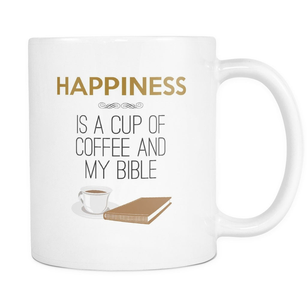 Happiness Is A Cup Of Coffee And My Bible, Drinkware, teelaunch, Viper Coffee