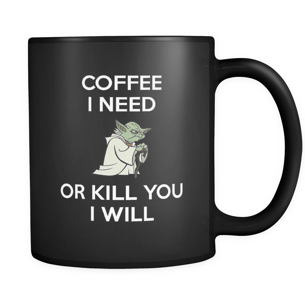 Coffee I Need... Black Mug, Drinkware, teelaunch, Viper Coffee