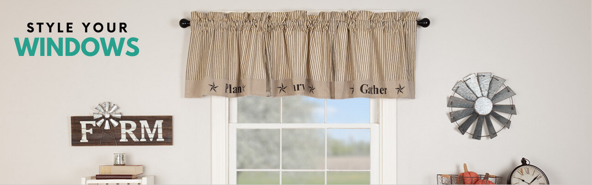Farmhouse Window Panels Curtains Swags