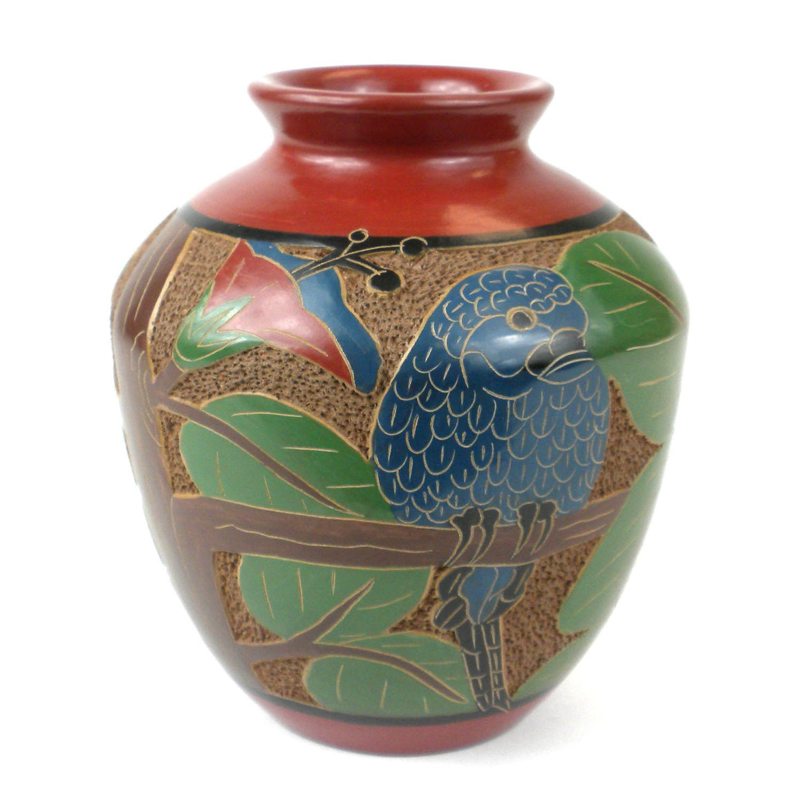 6 inch Tall Vase - Parrot Handmade and Fair Trade