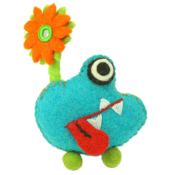 Hand Felted Blue Tooth Monster with Flower Handmade and Fair Trade