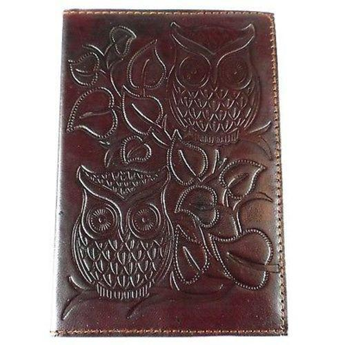 "Night Owl"" Embossed Leather Journal Handmade and Fair Trade"