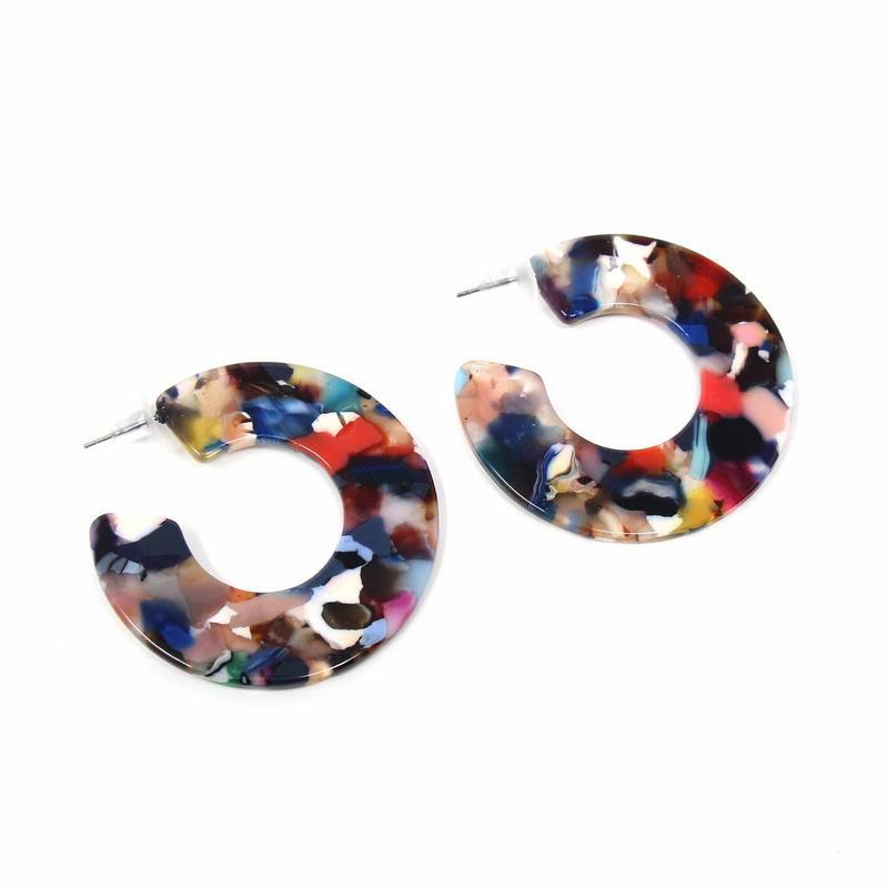 Earrings: Multicolored Resin Hoops - Starfish Project