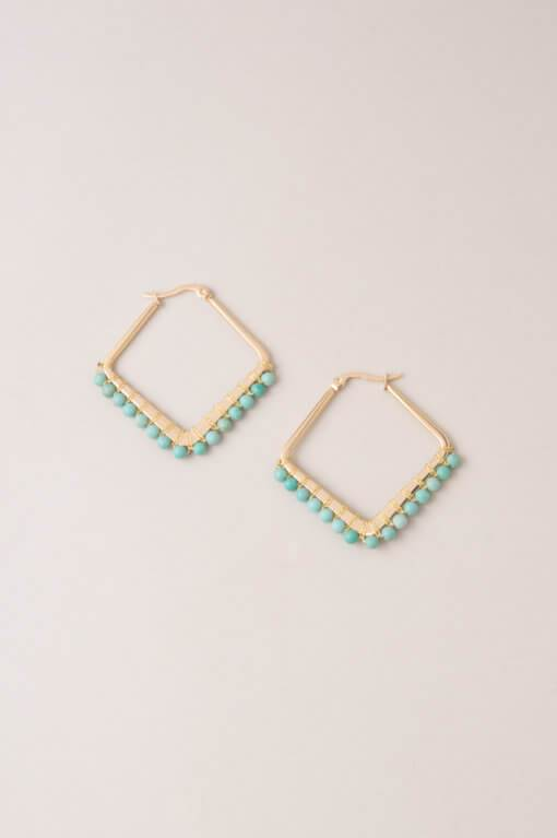 Kayla in Blue - Turquoise Howlite Diamond Hoop Earrings - Starfish Project