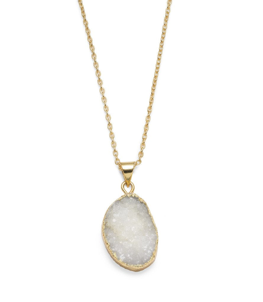 Rishima Druzy Drop Necklace - White - Matr Boomie (Jewelry)
