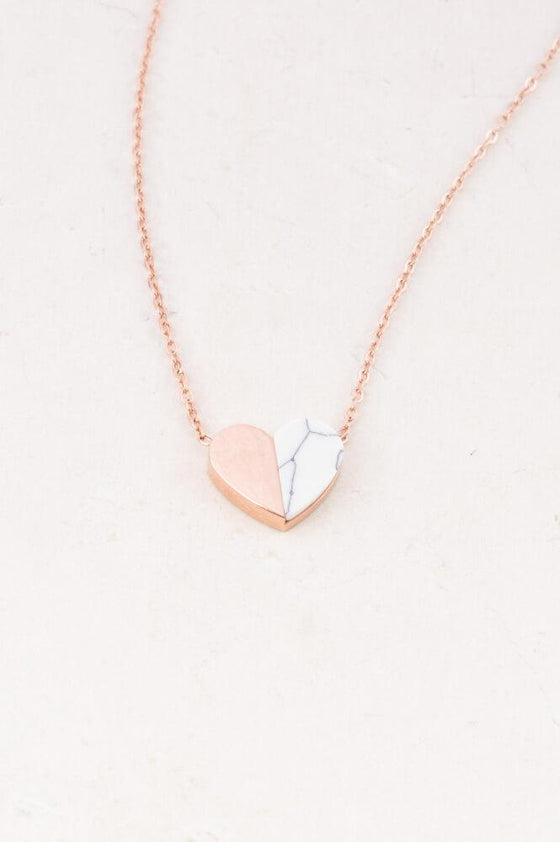 Alexis - Rose Gold and Howlite Heart Necklace - Starfish Project