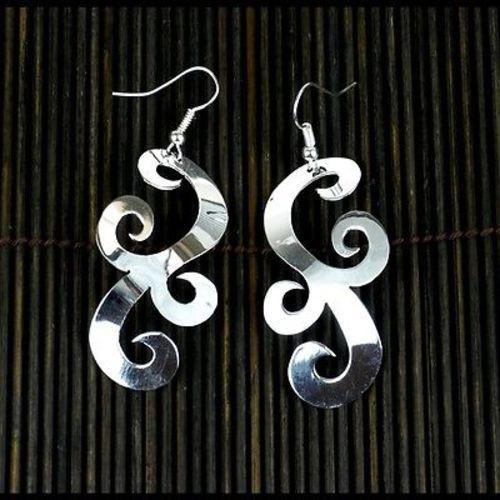 Large Silverplated Scrollwork Earrings Handmade and Fair Trade