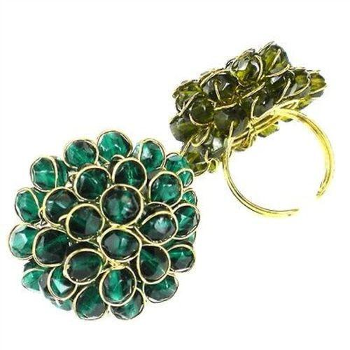 Teal Chrysanthemum Ring Handmade and Fair Trade