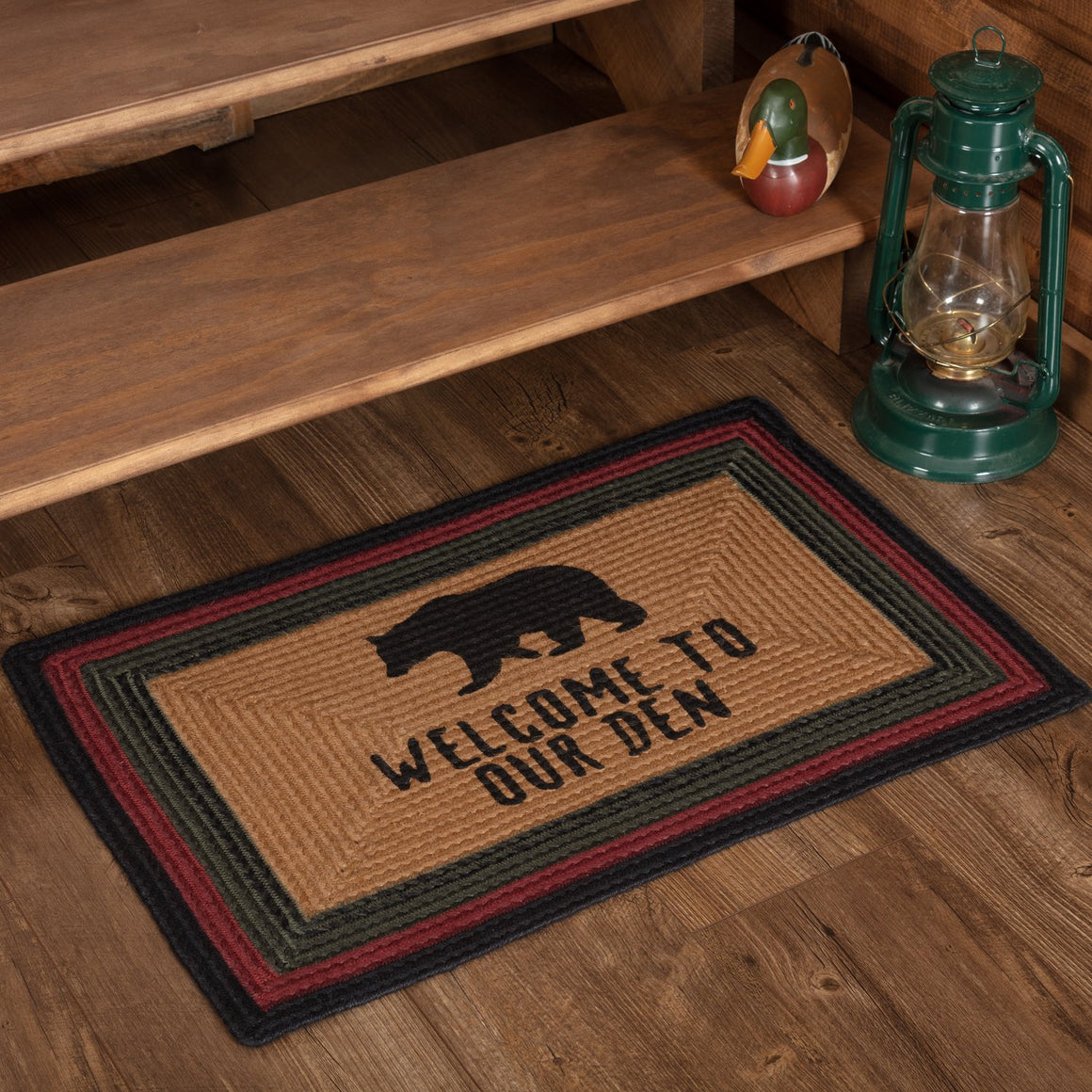 Wyatt Bear Welcome to Our Den Stenciled Jute Rug