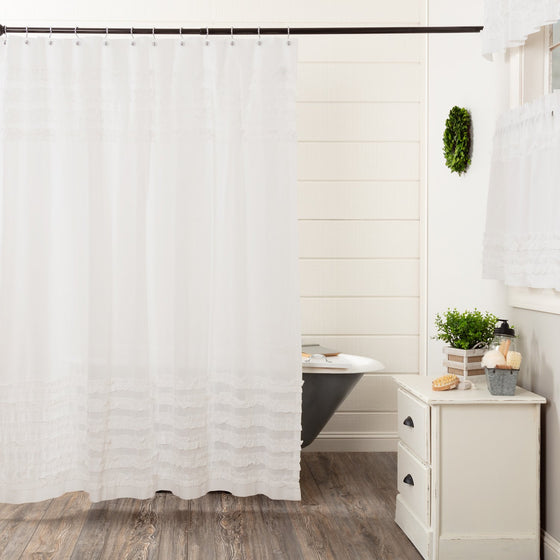 White Ruffled Sheer Petticoat Shower Curtain 72x72