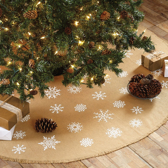 Snowflake Burlap Tree Skirt