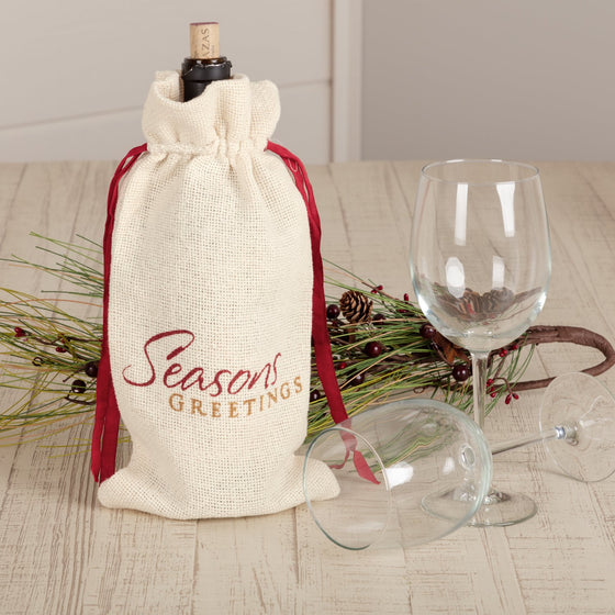 Creme Burlap Wine Bag Seasons Greetings 13x6.5
