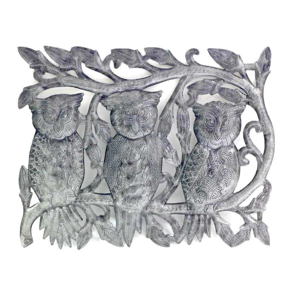 "Three Owls Metal Wall Art (11"" x 14"") - Croix des Bouquets"