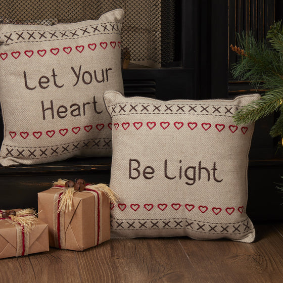 Merry Little Christmas Pillow Let Your Heart Set of 2 12x12