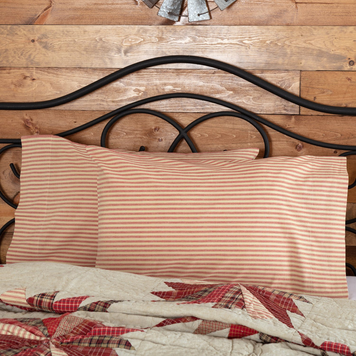 Ozark Red Ticking Stripe Pillow Case Set