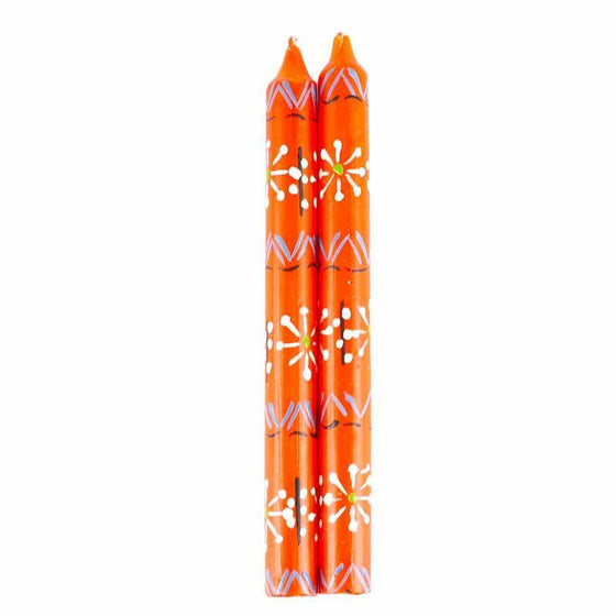 Hand Painted Candles in Orange Masika Design (pair of tapers) - Nobunto