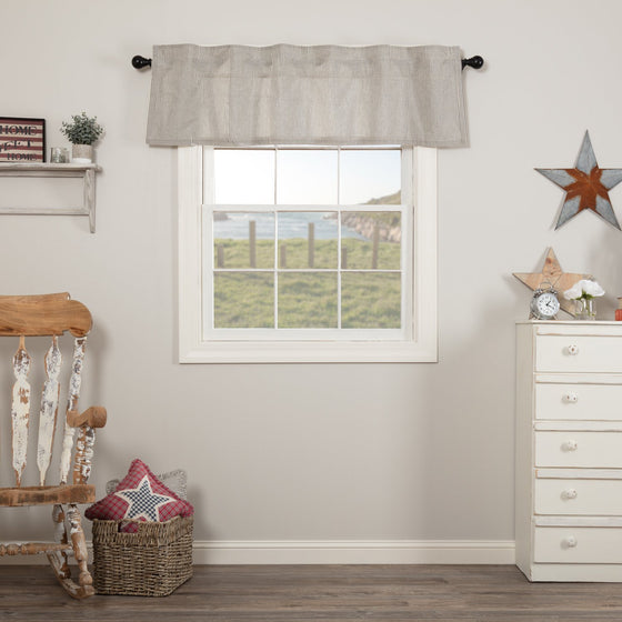 Hatteras Seersucker Blue Ticking Stripe Valance