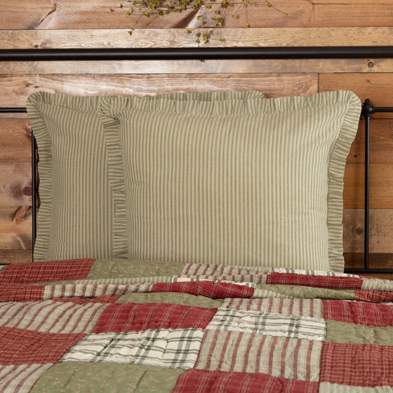 Prairie Winds Green Ticking Stripe Euro Sham 26x26