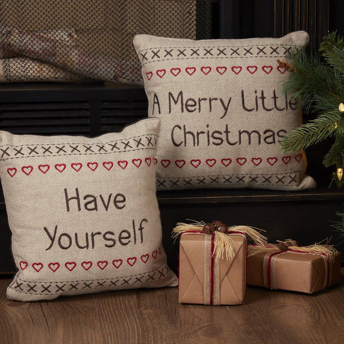 Merry Little Christmas Pillow Have Yourself A Set of 2 12x12