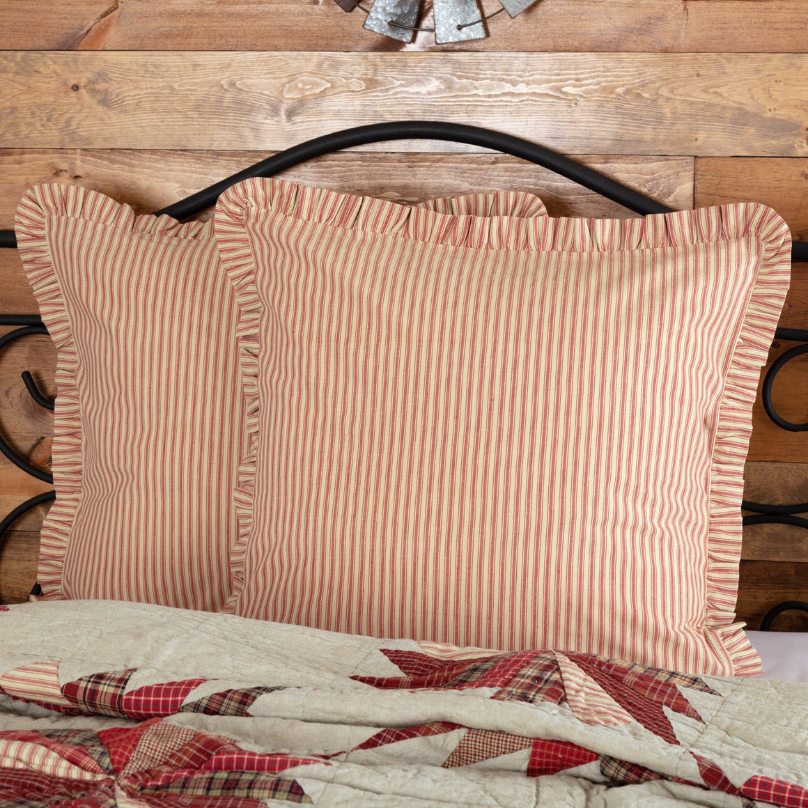 Ozark Red Ticking Stripe Euro Sham 26x26