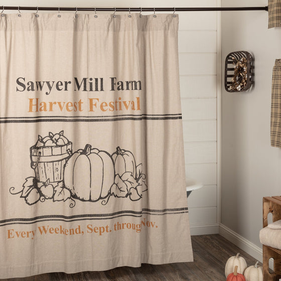 Sawyer Mill Charcoal Harvest Festival Shower Curtain 72x72