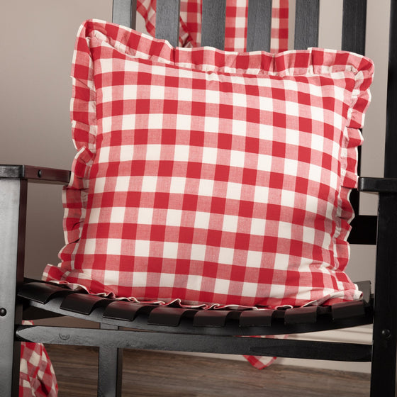 Annie Buffalo Red Check Ruffled Fabric Pillow 18x18