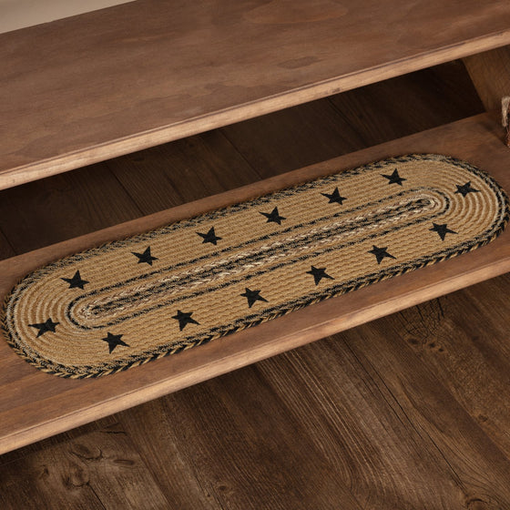 Kettle Grove Stars Border Stenciled Jute Stair Tread