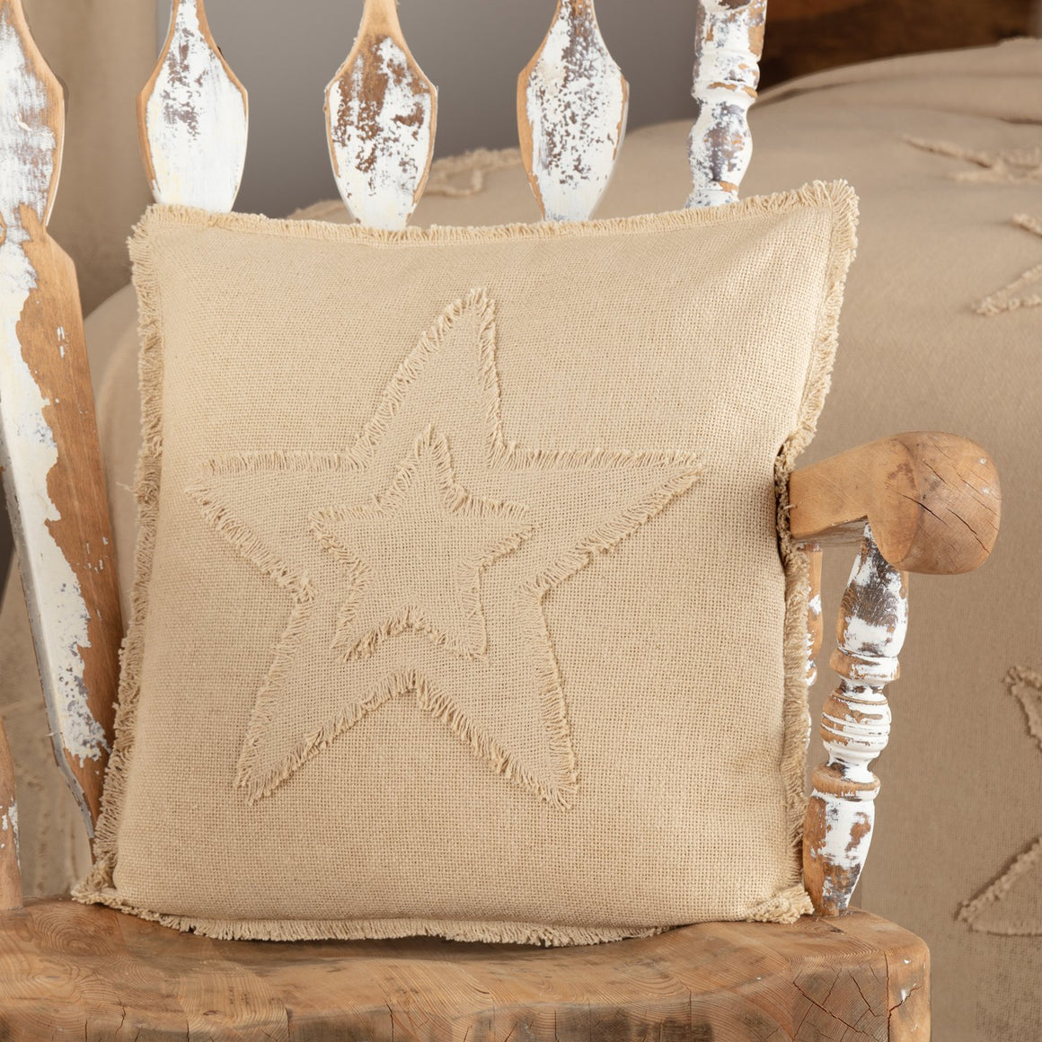 Burlap Star Pillow 18x18