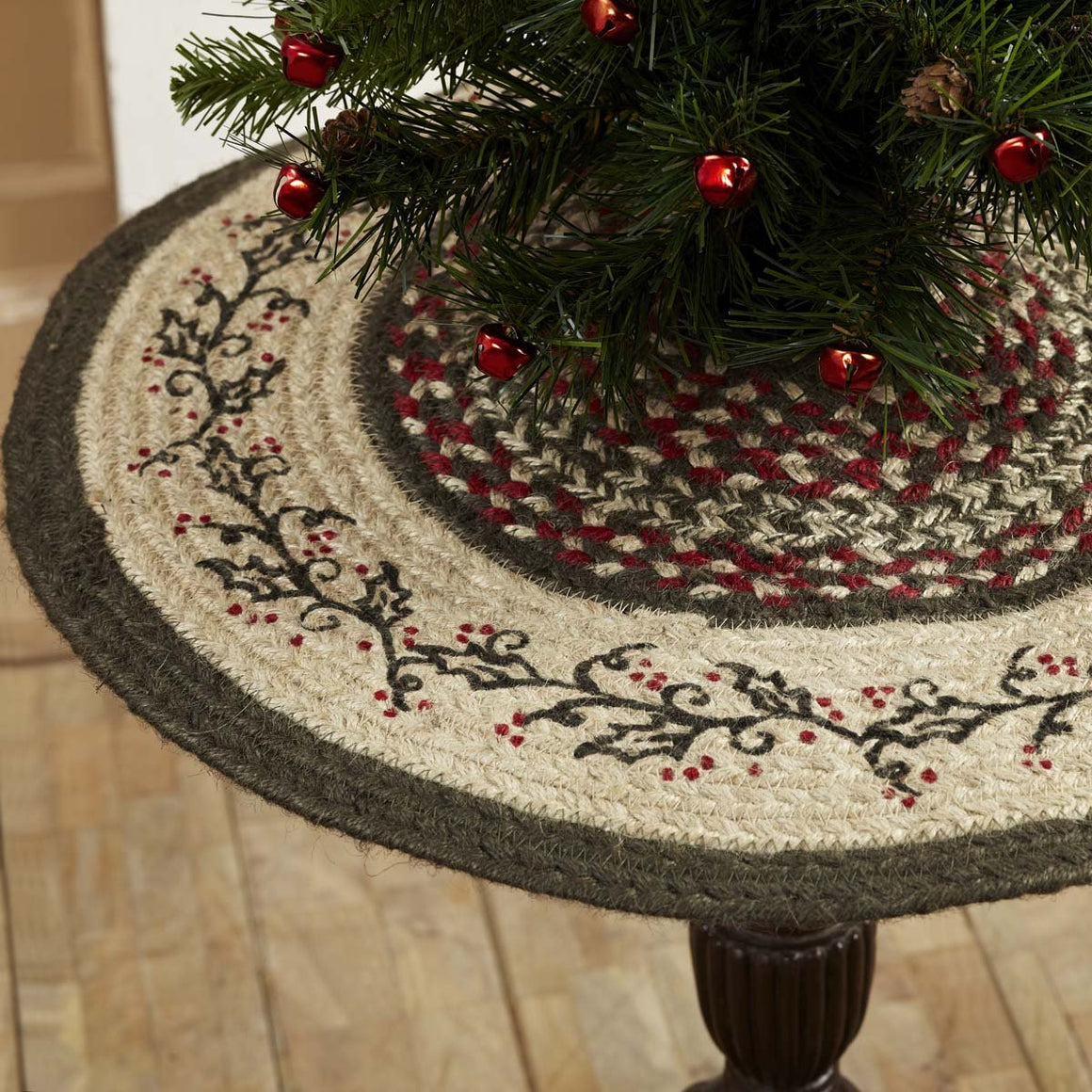 Holly Berry Jute Stenciled Tree Skirt