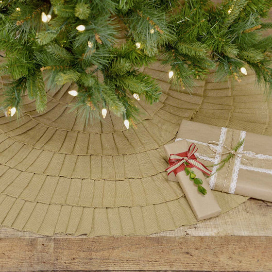 Festive Burlap Ruffled Tree Skirt